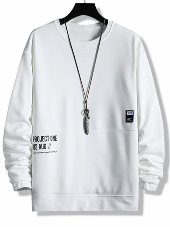 shop Layered Letter Graphic Patched Sweatshirt - WHITE XS