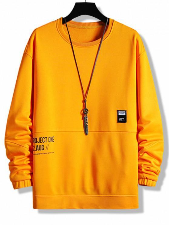 Layered Letter Graphic Patched Sweatshirt - البرتقالي XL