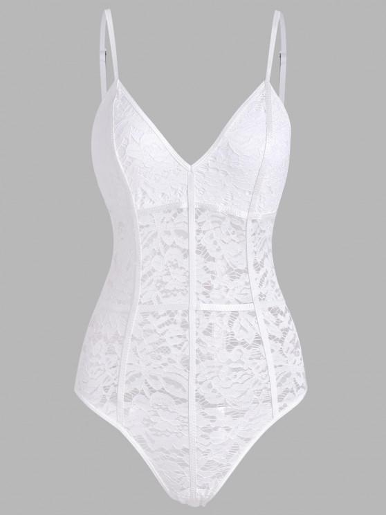 women Flower Lace Binding See Thru Lingerie Teddy - WHITE M