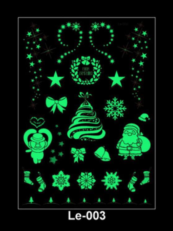 online Christmas Tree Print Luminous Tattoo Stickers - LIGHT GREEN
