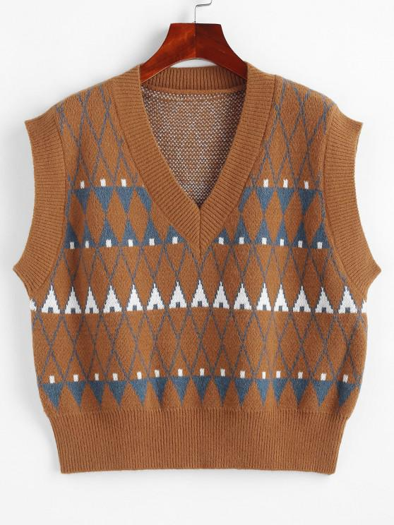 Geo Graphic Sweater Vest - قهوة حجم واحد