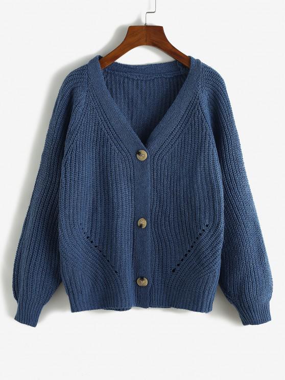 best Raglan Sleeve Single Breasted Pointelle Knit Cardigan - BLUE ONE SIZE