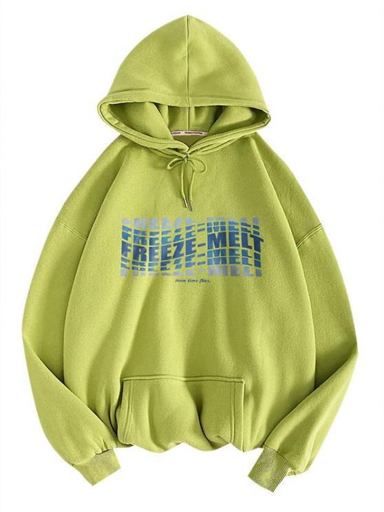 Freeze-melt Slogan Pattern Pullover Hoodie - اخضر فاتح 2XL