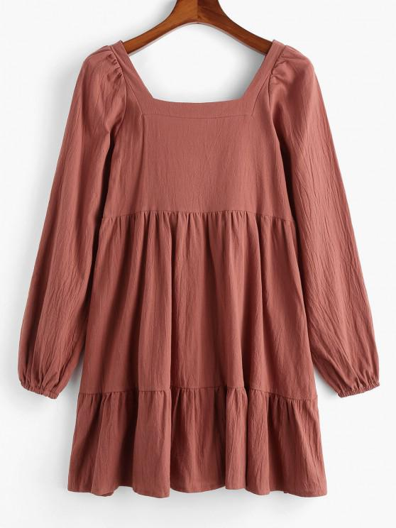 Long Sleeve Tie Cut Out Back Casual Dress - قهوة L