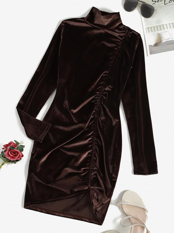 Cinched Velvet Long Sleeve Bodycon Dress - القهوة العميقة L