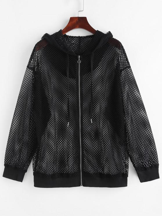 womens Hooded Zip Up Fishnet Mesh Jacket - BLACK S