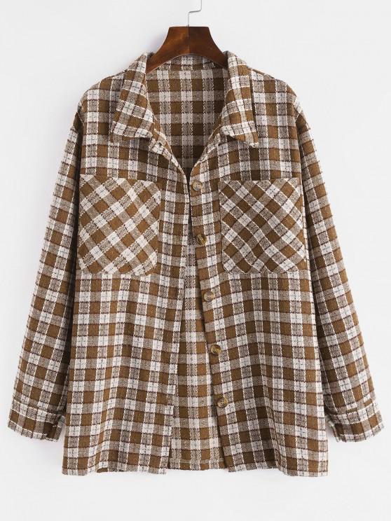 women Metallic Thread Plaid Tweed Dual Pocket Shirt Jacket - DEEP COFFEE S
