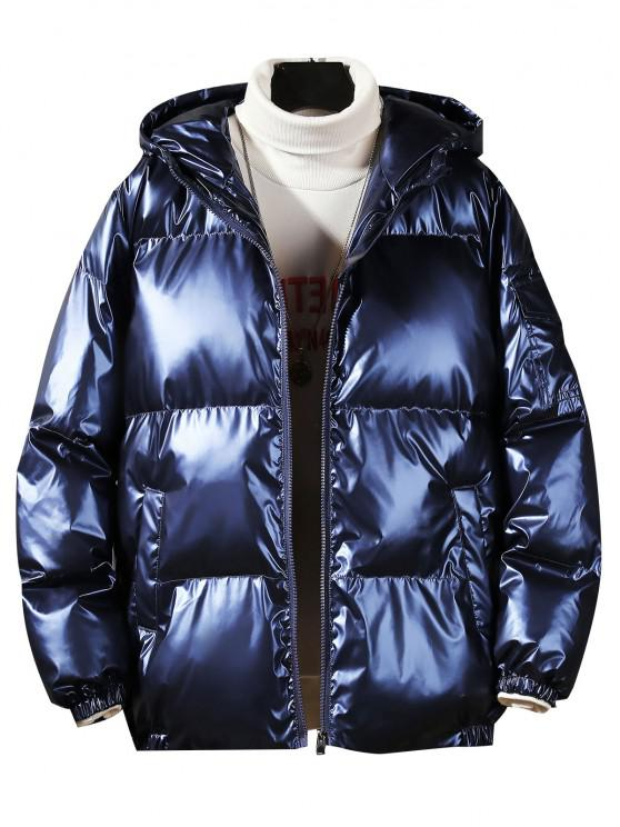 new Hooded Shiny Metallic Puffer Quilted Jacket - CADETBLUE L