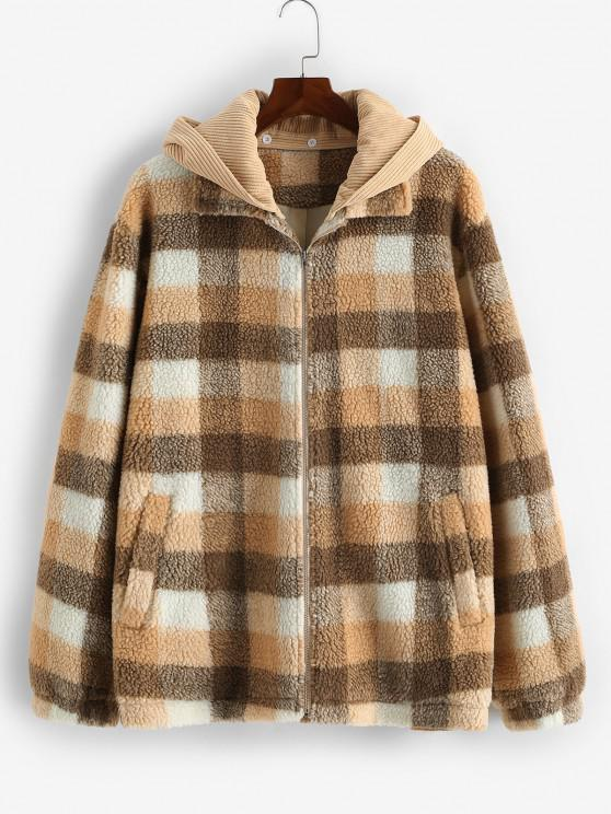 ZAFUL Plaid Corduroy Patchwork Hooded Teddy Jacket - متعدد L