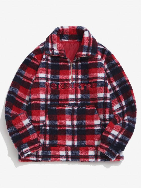 Plaid Letter Embroidery Teddy Sweatshirt - أحمر S