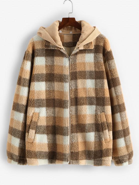 buy ZAFUL Plaid Corduroy Patchwork Hooded Teddy Jacket - MULTI M