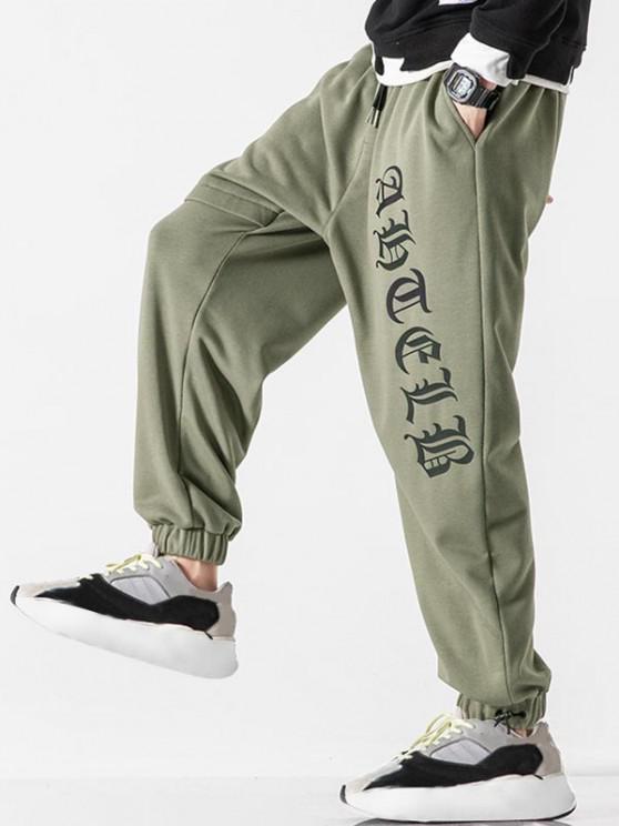 Letter Print Elastic Waist Jogger Sweatpants - الجيش الأخضر L