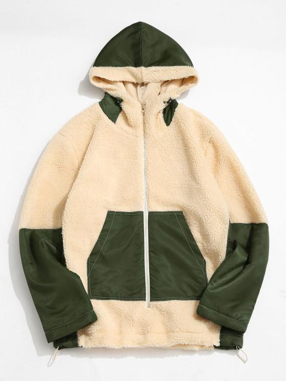 ZAFUL Colorblock Patchwork Hooded Teddy Jacket - القهوة الخفيفة M