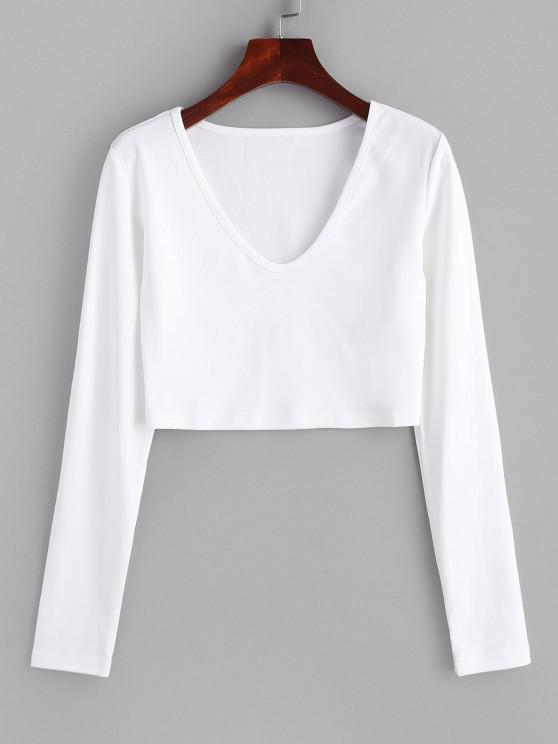 lady Plain V Neck Cropped Tee - WHITE S