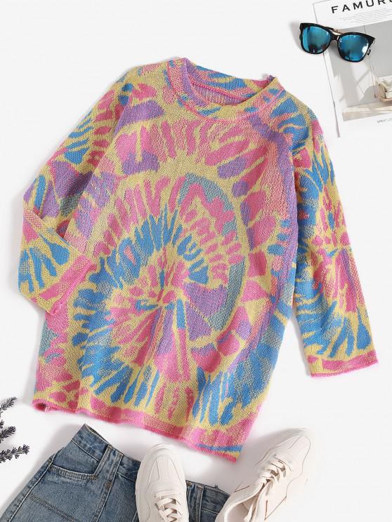 Splatter Tie Dye Print Drop Shoulder Sweater - وردي فاتح حجم واحد