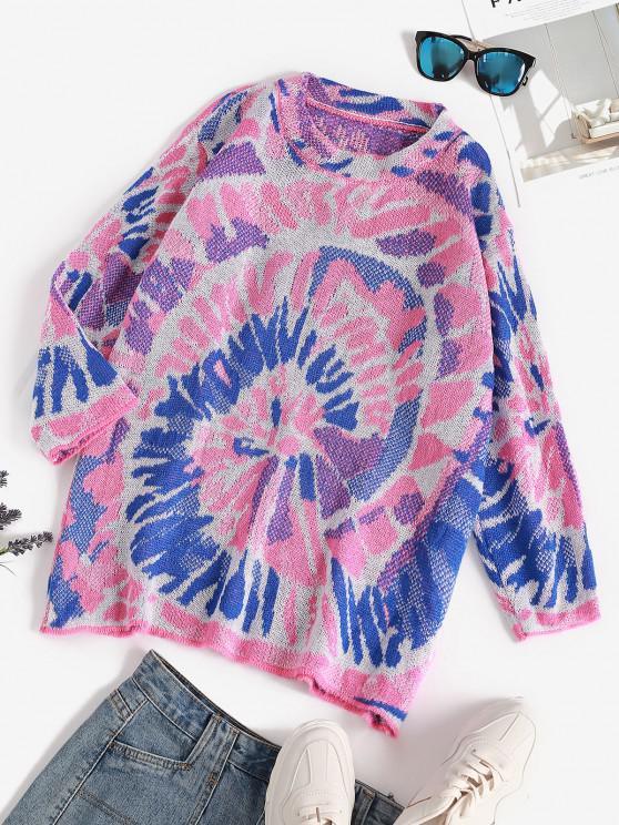 online Splatter Tie Dye Print Drop Shoulder Sweater - BLUE ONE SIZE