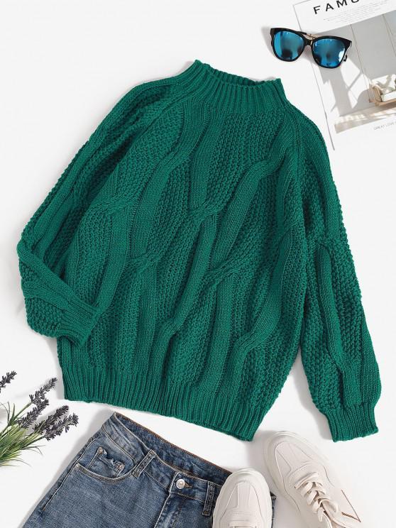 Raglan Sleeve Mixed Chunky Knit Sweater - ديب غرين حجم واحد