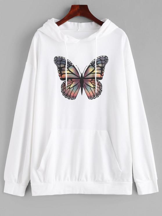 trendy Kangaroo Pocket Butterfly Print Oversized Hoodie - WHITE M