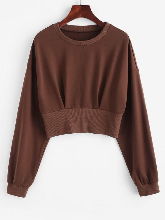 ZAFUL Drop Shoulder Crop Blouson Sweatshirt - القهوة العميقة XL