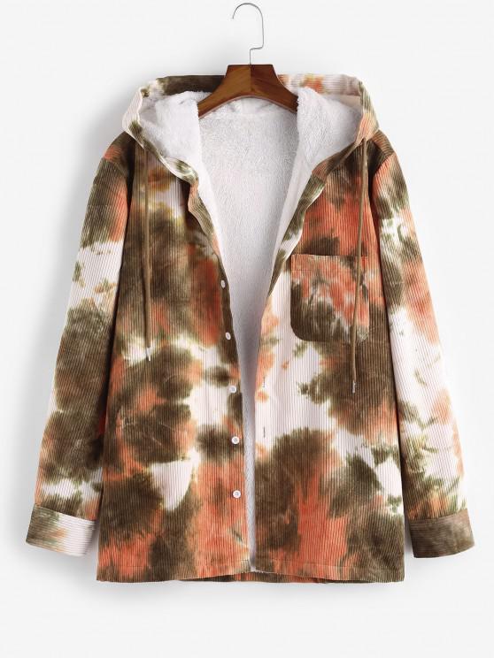 shops Hooded Tie Dye Pattern Fleece Corduroy Jacket - LIGHT ORANGE 2XL
