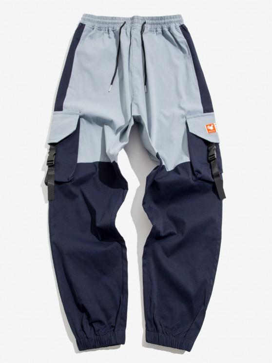 Colorblock Panel Flap Pocket Beam Feet Cargo Pants - ازرق فاتح M