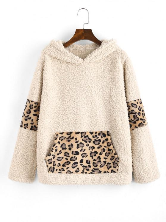 fashion Leopard Faux Shearling Pocket Teddy Hoodie - KHAKI S