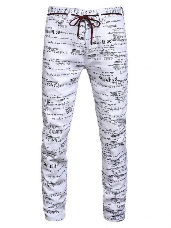 Letter Graphic Long Jeans - متعددة-A 38