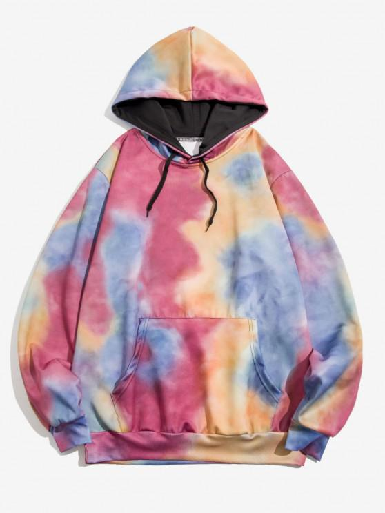 trendy Tie Dye Print Front Pocket Drawstring Hoodie - PALE VIOLET RED XL