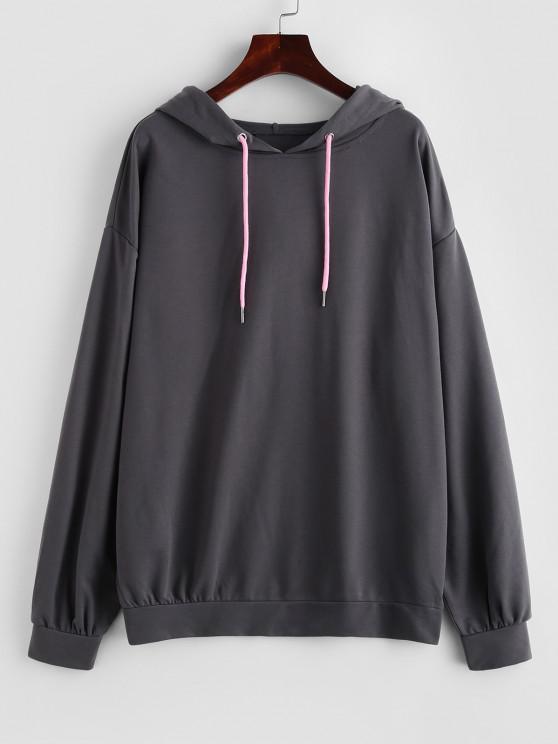 Drop Shoulder Plain Oversized Hoodie - الرمادي الداكن L