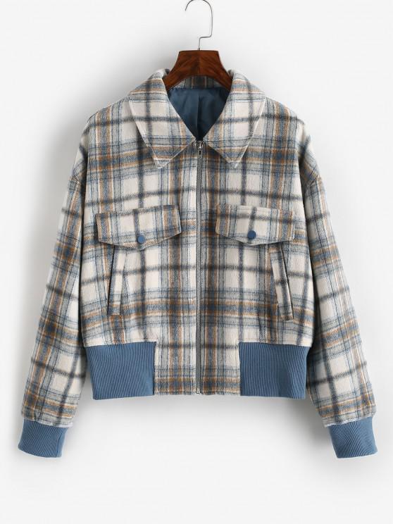 ZAFUL Reißverschluss Taschen Karierte Wollmischung Jacke - Kaffee XL