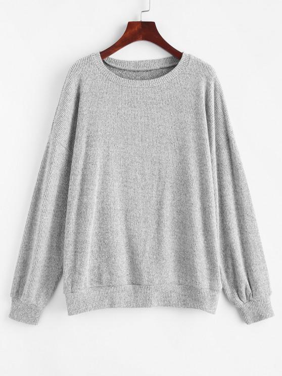 women Marled Knit Drop Shoulder Slouchy Sweater - LIGHT GRAY XL