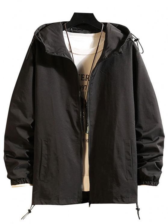 Toggle Drawstring Zip Front Windbreaker Jacket - أسود M