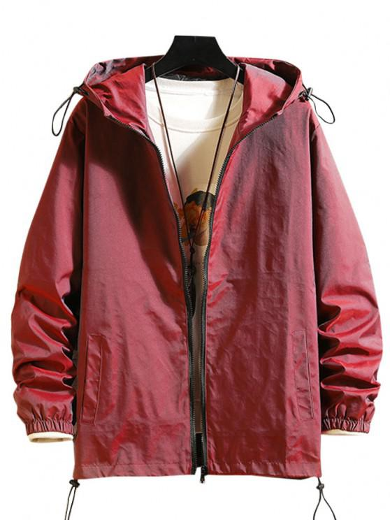 Toggle Drawstring Zip Front Windbreaker Jacket - نبيذ احمر XL