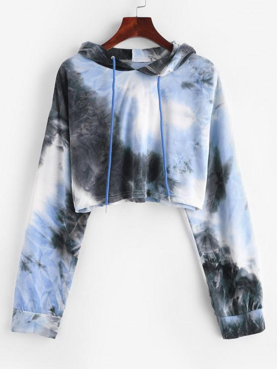 Tie Dye Print Drop Shoulder Cropped Hoodie - أزرق فاتح L