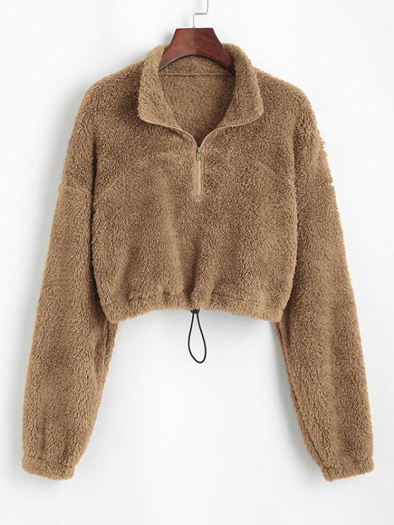 chic ZAFUL Half Zip Plush Cropped Sweatshirt - KHAKI S