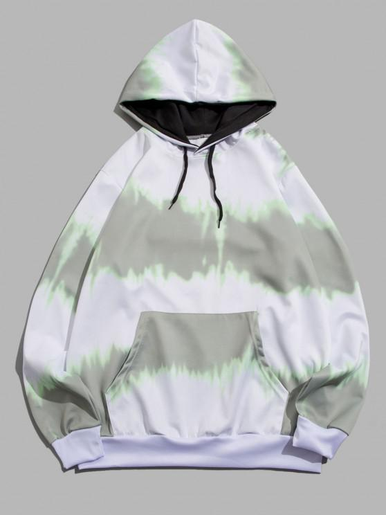Sudadera con Capucha y Estampado de Tie Dye con Bolsillo Delantero - Gris S