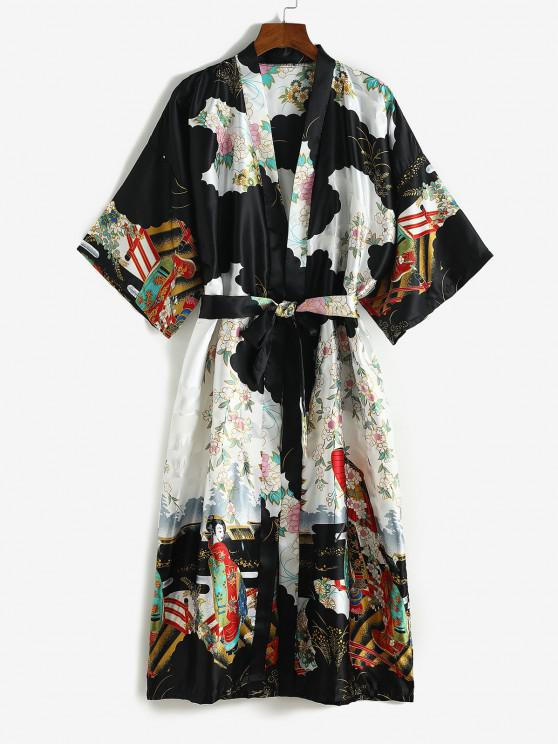chic Satin Flower Geisha Print Long Wrap Robe with Belt - BLACK ONE SIZE