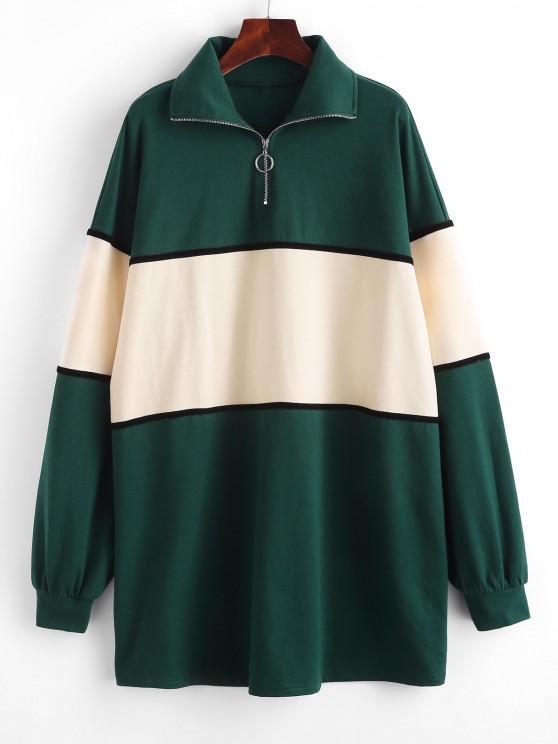 new ZAFUL Colorblock Half Zip Sweatshirt Dress - DEEP GREEN M
