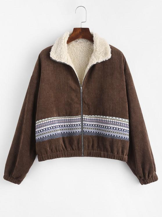 women ZAFUL Faux Fur Lined Tribal Print Corduroy Jacket - DEEP COFFEE M