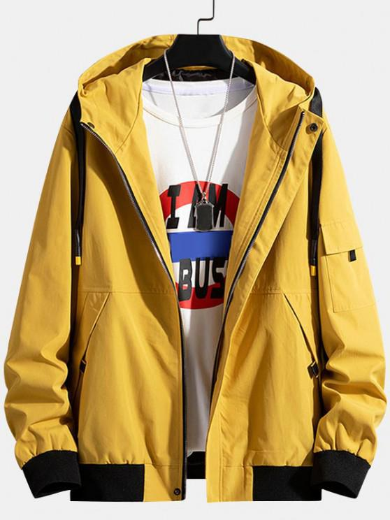 Colorblock Letter Patchwork Hooded Jacket - الأصفر M