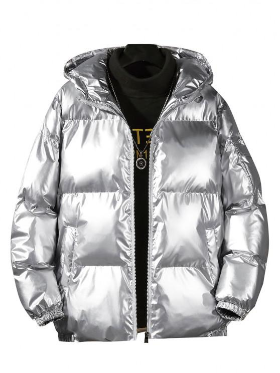 affordable Hooded Shiny Metallic Puffer Quilted Jacket - SILVER M