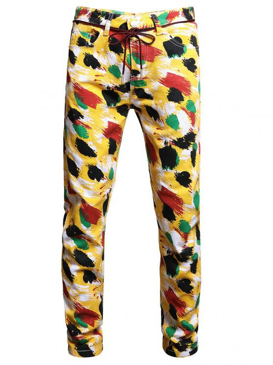 Colorful Paint Print Long Jeans - متعددة-A 34