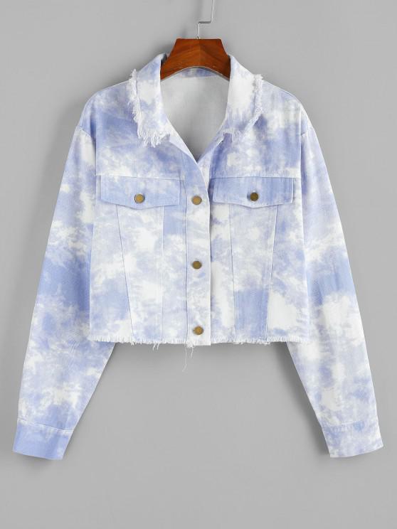 affordable ZAFUL Cloud Dye Frayed Shirt Jacket - LIGHT BLUE S