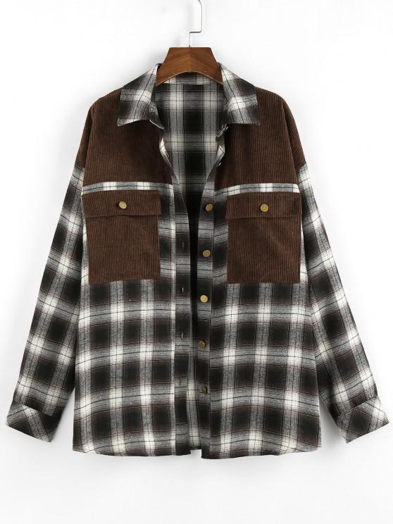 ZAFUL Corduroy Patched Plaid Pocket Drop Shoulder Shacket - دب بنى XL