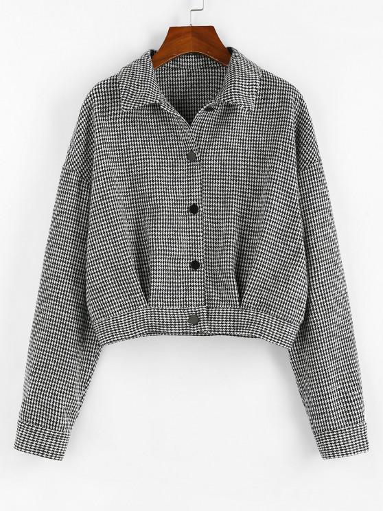 shop ZAFUL Houndstooth Drop Shoulder Tweed Jacket - BLACK S