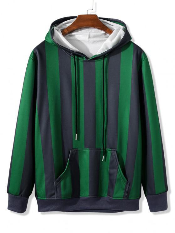 women Front Pocket Fleece Lined Striped Hoodie - SHAMROCK GREEN 2XL
