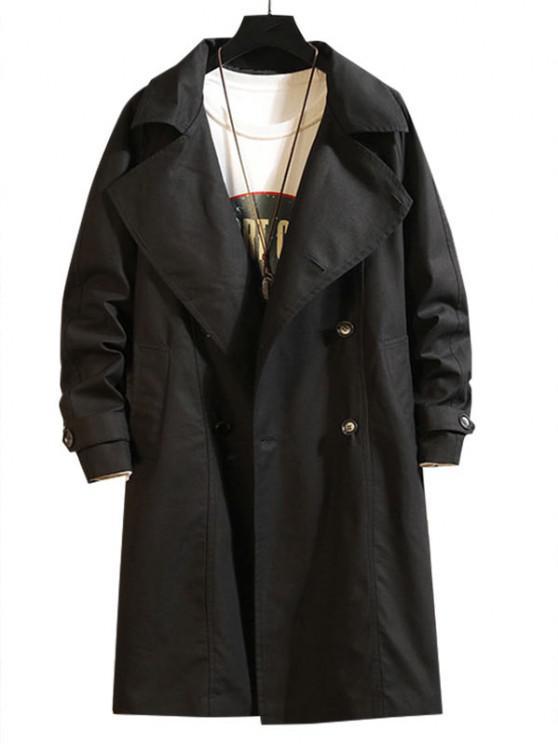Raglan Sleeve Double Breasted Trench Coat - أسود 2XL