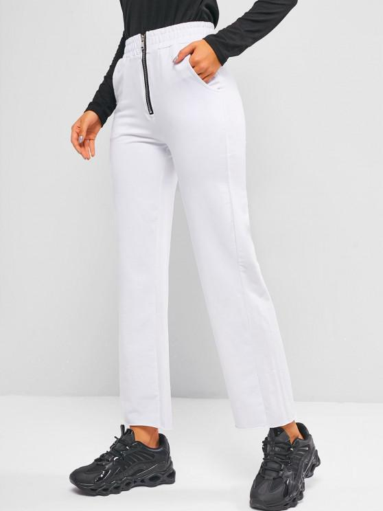 affordable Zip Front Pocket Raw Hem Straight Pants - WHITE L