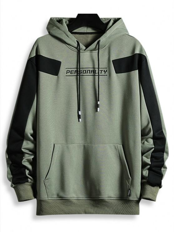 latest Drawstring Front Pocket Letter Embroidered Hoodie - GREEN XS