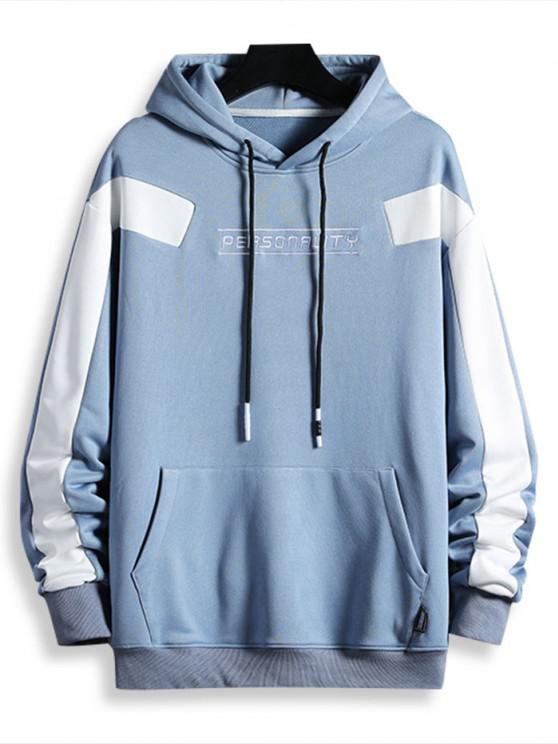 Drawstring Front Pocket Letter Embroidered Hoodie - أزرق فاتح XL
